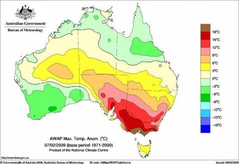 Maximum temperature anomalies (differences from the 1971-2000 average) for 7 February 2009